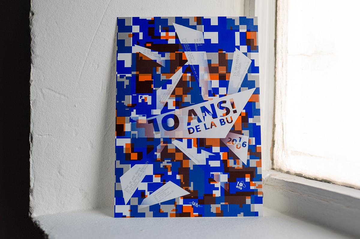 Virgile Laguin – Diary   15.12.2016   10 ans BU Le Havre   Cardboard, Identity, Poster, Print, Silkscreen