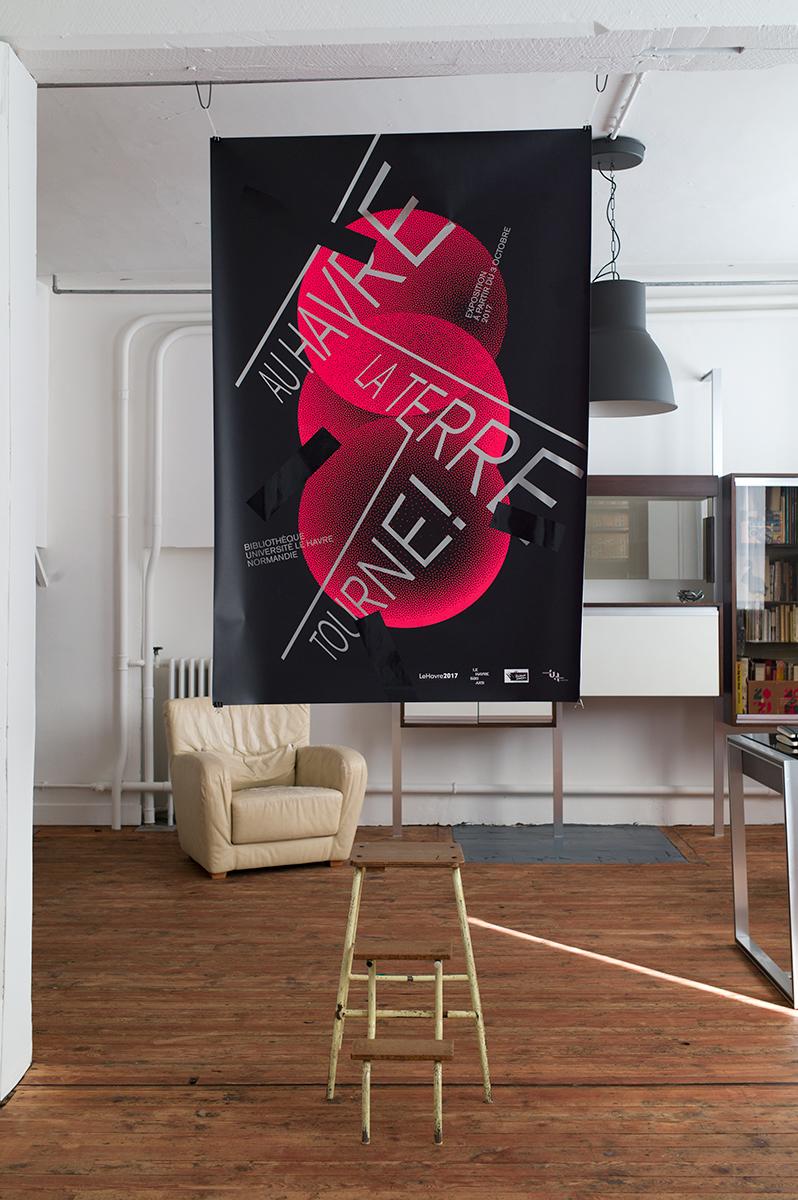 Virgile Laguin – Diary   03.10.2017   Au Havre la Terre tourne !   Cardboard, Exhibition, Identity, Poster, Print, Silkscreen